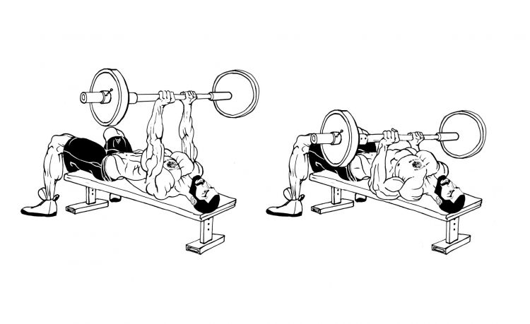 Flat Bench Barbell Triceps Press